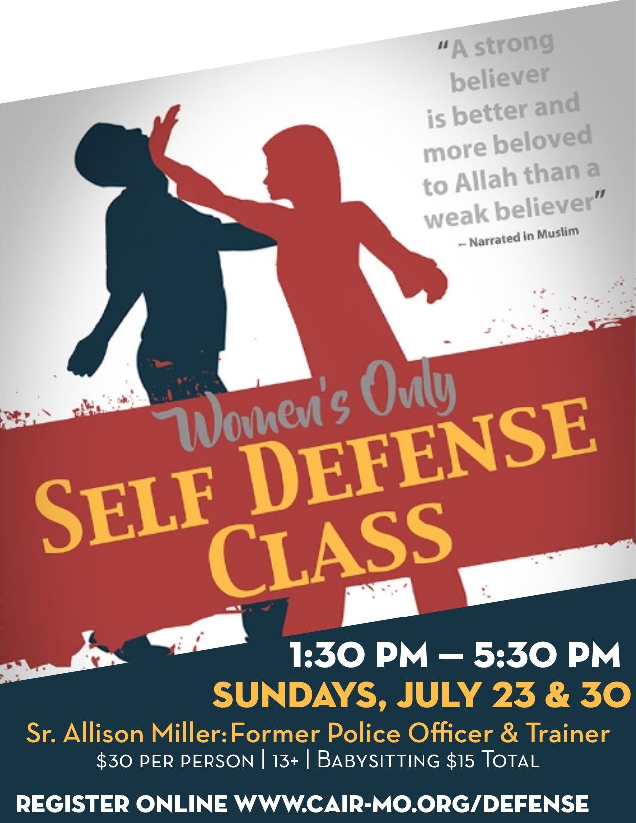 Muslim Women Self Defense Flyer Dar Al Jalal Masjid