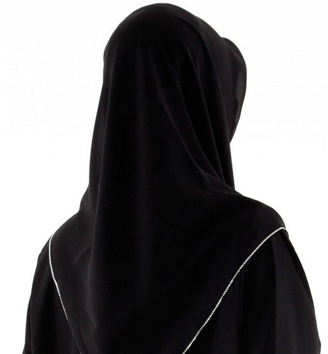 silver embroidered black hijab back skin