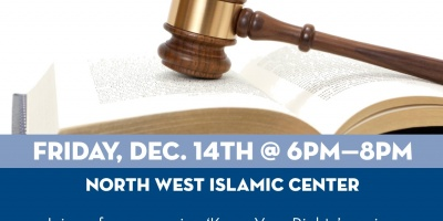 Know Your Rights, Islamic Wills, and a Pot Luck at NWIC Masjid